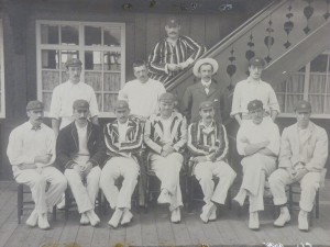 One of the earliest photos at the Jesmond Ground, taken in the late 19th century.  The team is in front of the Swiss Chalet pavilion.