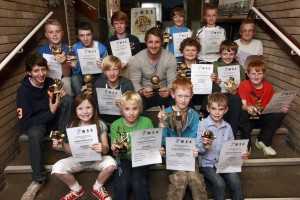 Phil  Mustard presents Junior WASPS awards
