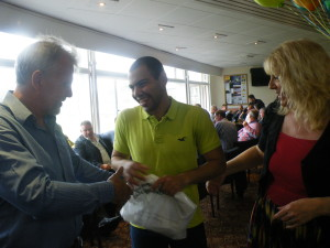 Volunteer Ahmed received a thanks present after his two months summer placement with the club.