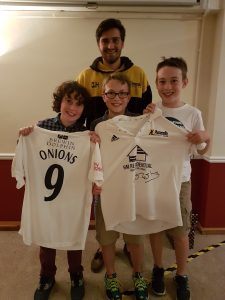 The two top prize winners Graham Onions shirt: Sam Browell and Ben Stokes shirt: Boothroyd family - Tomas and Niall